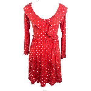 ASOS Red Polka Dot Ruffled Faux Wrap Dress